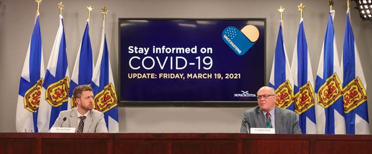 Strankin—premier Iain Rankin, left, and public health supremo Robert Strang—at their Friday, March 19 briefing. COMMUNICATIONS NOVA SCOTIA
