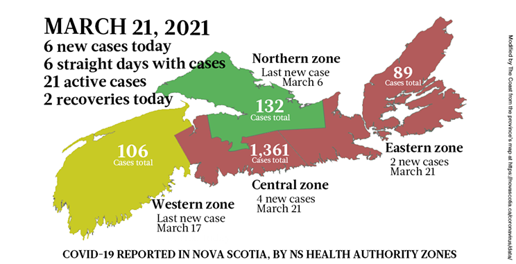 Map of COVID-19 cases reported in Nova Scotia as of March 21, 2021. Legend here. THE COAST