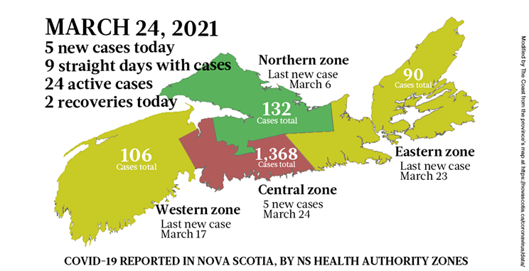 Map of COVID-19 cases reported in Nova Scotia as of March 24, 2021. Legend here. THE COAST