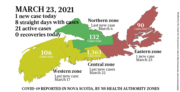 Map of COVID-19 cases reported in Nova Scotia as of March 23, 2021. Legend here. THE COAST
