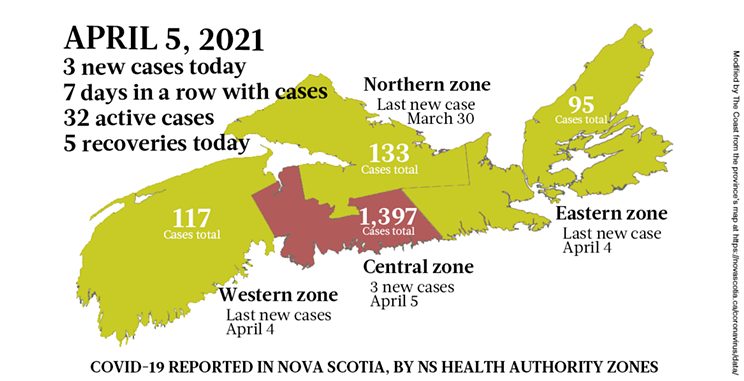 Map of COVID-19 cases reported in Nova Scotia as of April 5, 2021. Legend here. THE COAST