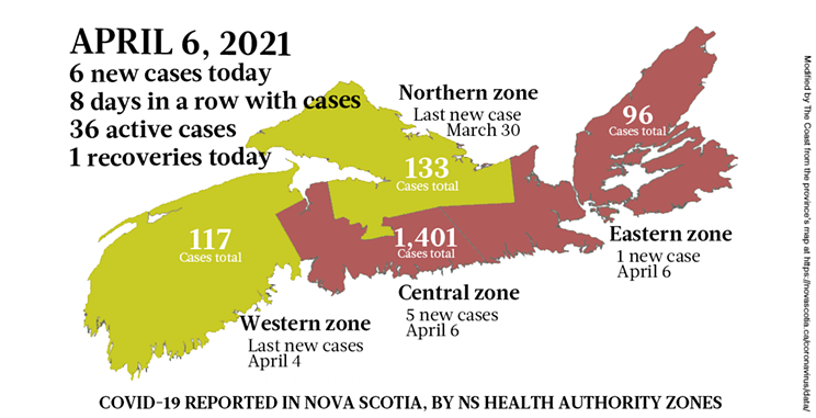 Map of COVID-19 cases reported in Nova Scotia as of April 6, 2021. Legend here. THE COAST