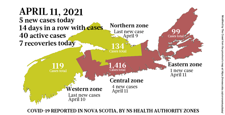 Map of COVID-19 cases reported in Nova Scotia as of April 11, 2021. Legend here. THE COAST