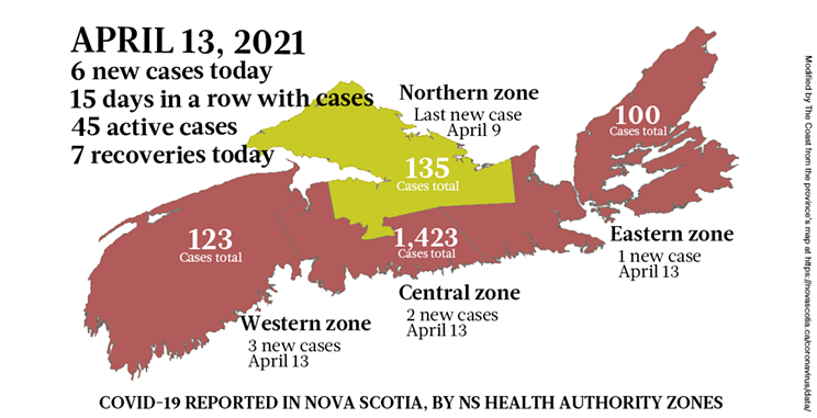 Map of COVID-19 cases reported in Nova Scotia as of April 13, 2021. Legend here. THE COAST