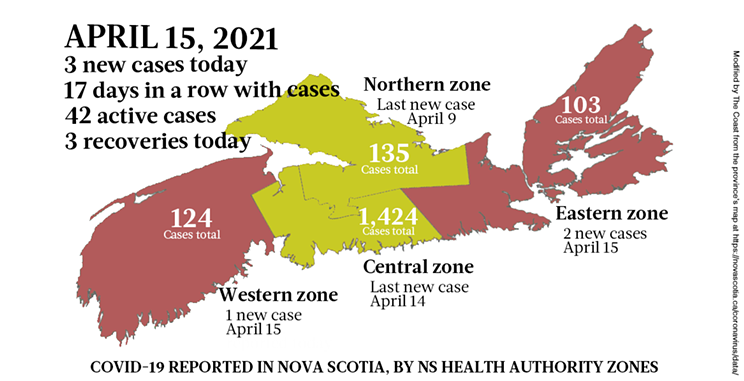 Map of COVID-19 cases reported in Nova Scotia as of April 15, 2021. Legend here. THE COAST