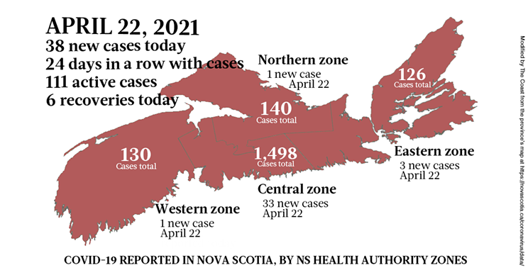 Map of COVID-19 cases reported in Nova Scotia as of April 22, 2021. Legend here. THE COAST