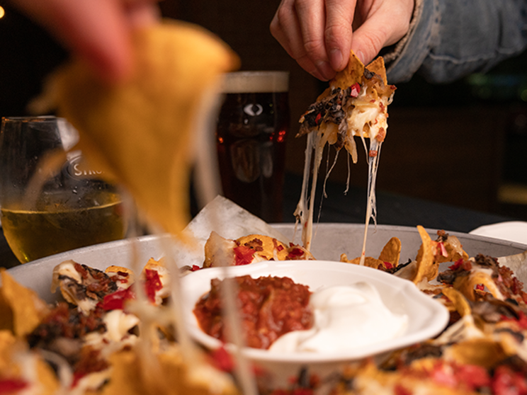 Lockdown nachos! The ultimate group pub food, now a take-out treat for five people max. IAN SELIG