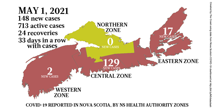 Map of COVID-19 cases reported in Nova Scotia as of May 1, 2021. Legend here. THE COAST