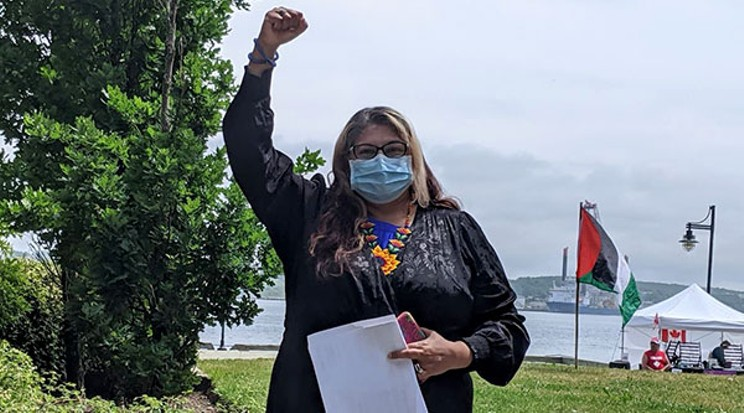 Rana Zaman at a Pro-Palestinian Rally on the waterfront. ROBERT DEVET NS ADVOCATE