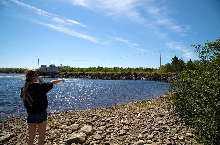 Nicole Gnazdowsky at the NS Power Marshall Falls reservoir in Sheet Harbour, on FaceTime with a witness who saw her brother enter the water.