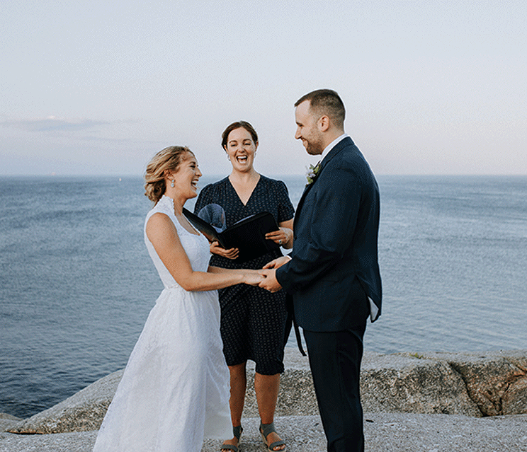 COVID accelerated the trend toward smaller weddings—like Shaua and Aaron's pictured here, arranged by East Coast Pop Up Weddings.
