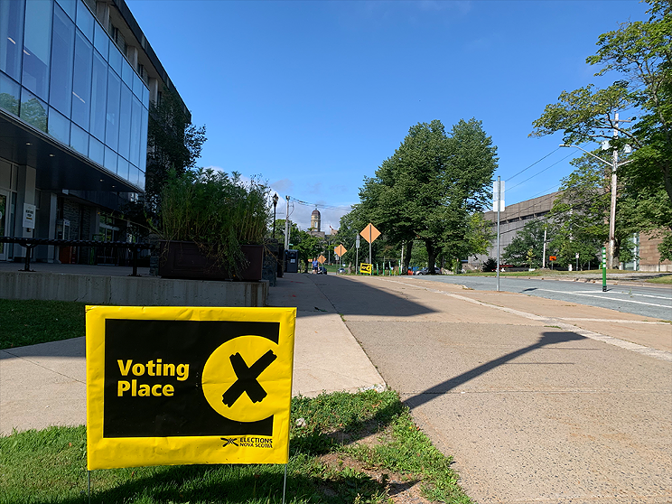 An early polling station at the Dalhousie University Student Union building.