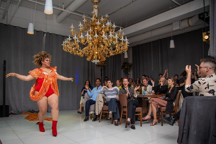 Halifax drag queen Elle Noir (Chris Cochrane) stuns an audience at The Garden as she does a costume reveal.