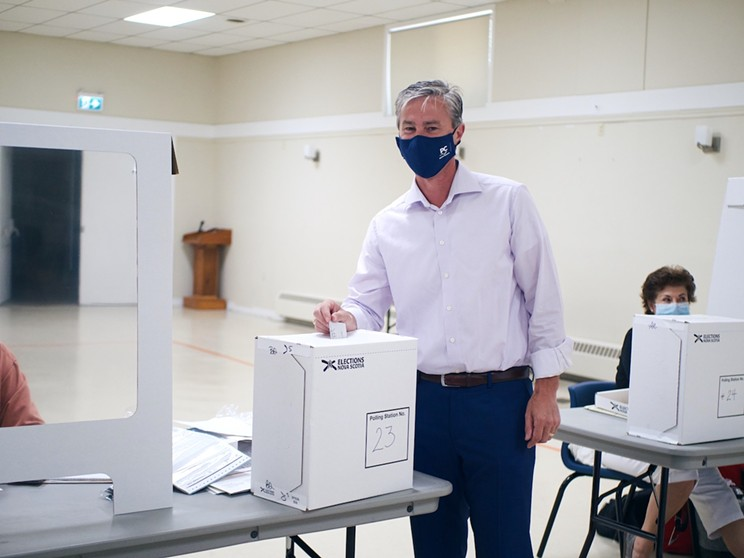 PC leader Tim Houston casts a vote for his future—and Nova Scotia's—in the Pictou East riding.