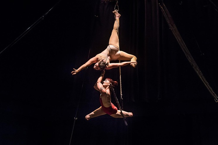 LEGacy Circus is the name of Erin Ball and Vanessa Furlong's performing arts act, blending circus art and storytelling.