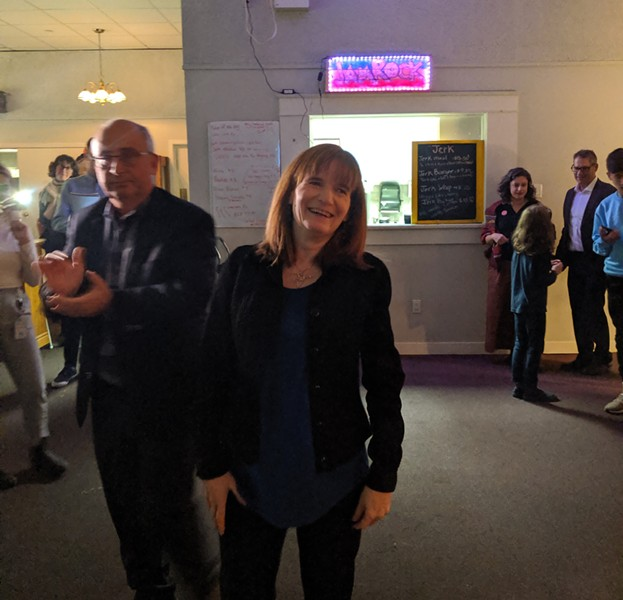 Christine Saulnier arrives at the Mayflower Curling Club in Halifax. - THE COAST