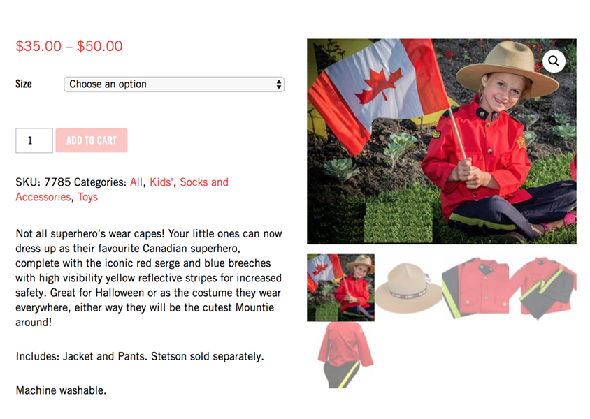 """A Mountie costume that your kid can """"wear everywhere!"""" - RCMPHC.CA"""