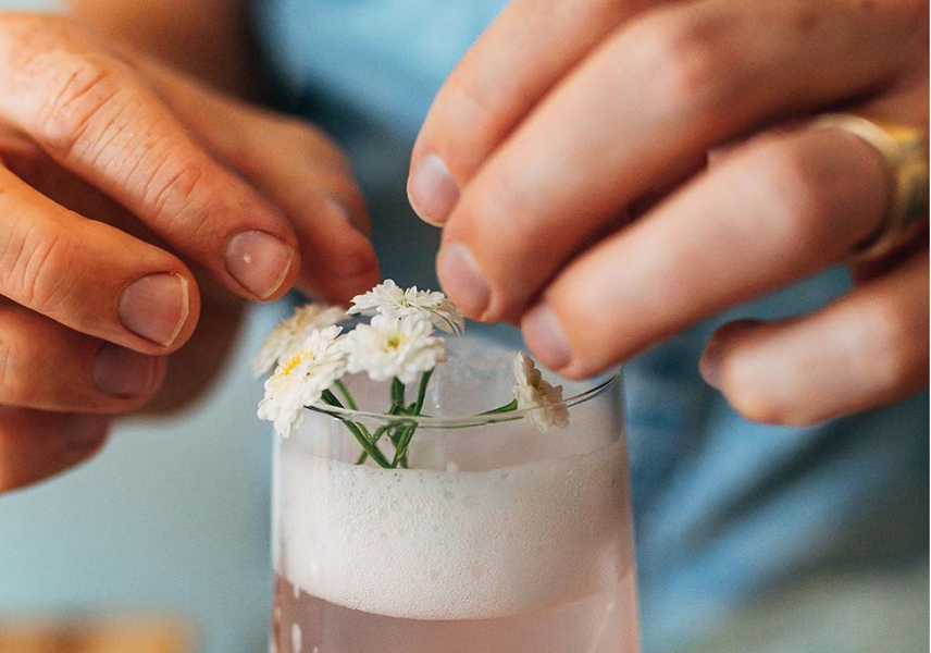 Dear Friend also serves non-alcoholic cocktails like this homemade rhubarb sparkling water with Seedlip spirits. - ANISA FRANCOEUR