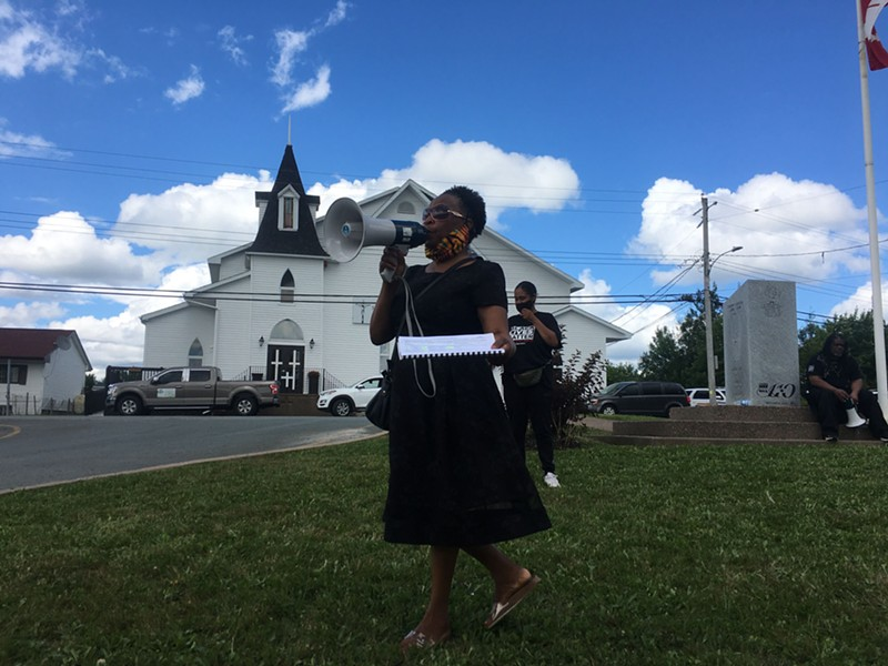 """Organizer Evangeline Star Downey says """"""""Change is coming. Hold on, don't worry about a thing,"""" at Operation Black Lives Matter North Preston. - FELESHIA CHANDLER"""