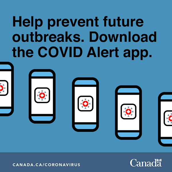 A graphic for sharing on social media from Health Canada about the COVID Alert app.