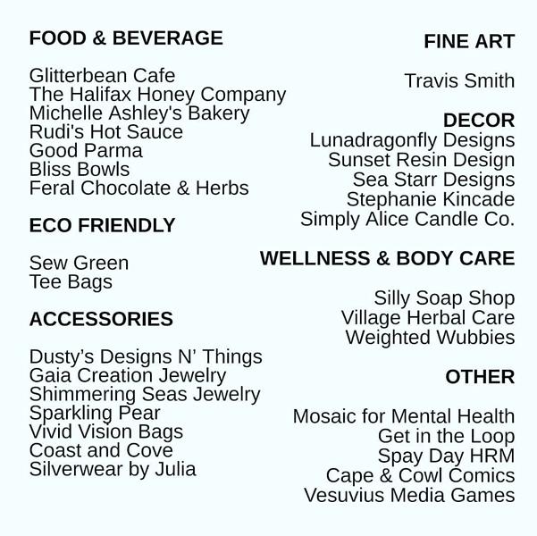 The full list of vendors for the Supernova Market. - INSTAGRAM