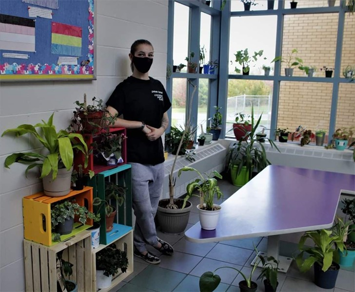 Sarah Patry stands among the plants she's collected at École du Carrefour in Dartmouth. - NATHALIE ROY