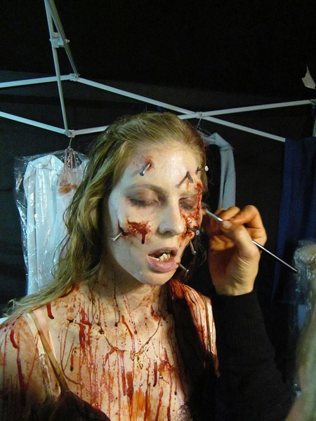 On set of Evil Dead, where Patrick Baxter was one of te make-up effects artists bringing the horror to nail-marked life. - PATRICK BAXTER