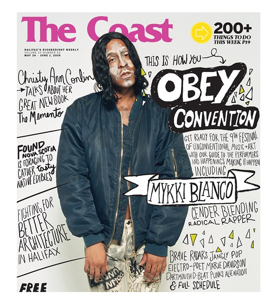 Watch for Mykki Blanco on The Coast's new hard-copy issue, featuring the OBEY Convention guide - HAND-LETTERING BY PAIGE SAWLER