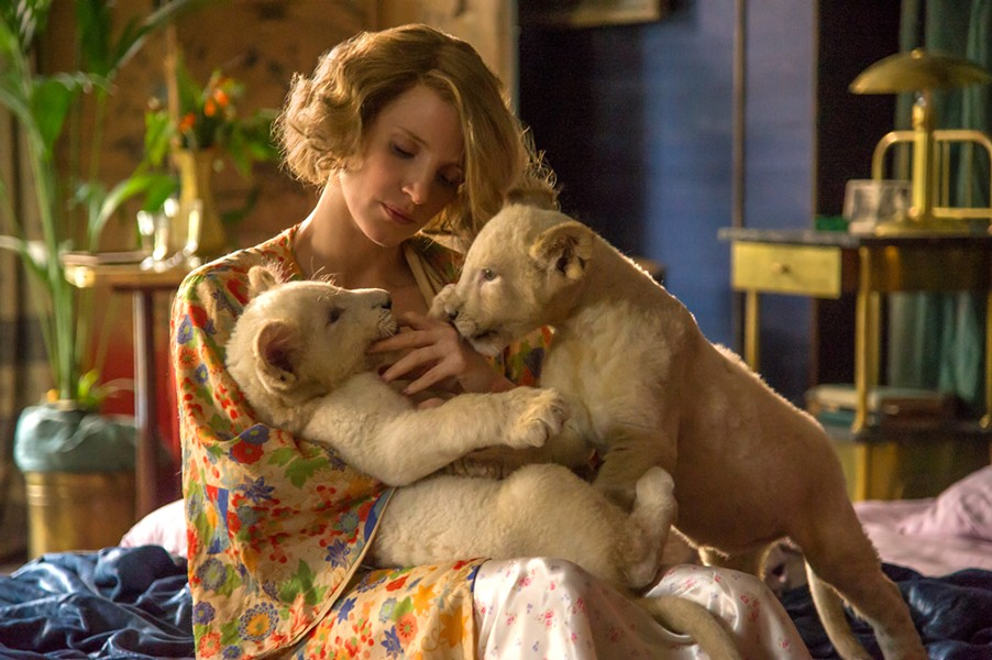 Many shots of Jessica Chastain casually holding animals provide a nice bit of levity in a mostly heavy film. - ELEVATION PICTURES