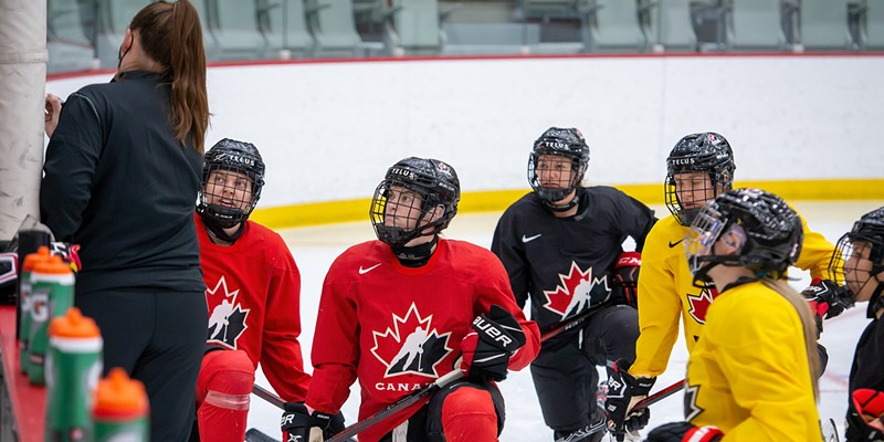 Players trying out for Team Canada take a knee at the January training camp in Calgary.