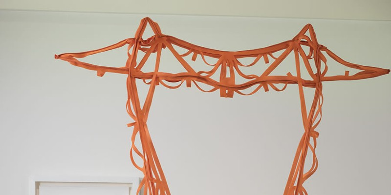 Melanie Colosimo: Transmission Tower I, 2016 Air mesh fabric, cut-out, 457.2 x 295.74 cm Installation view at the Art Gallery of Nova Scotia via sobeyartaward.ca