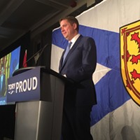 Conservative Party leader Andrew Scheer speaks during Saturday's luncheon at the Nova Scotia PC AGM in Halifax.