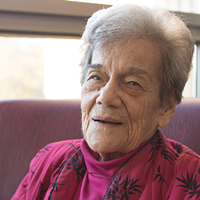Peterson, pictured here shortly before her 100th birthday.