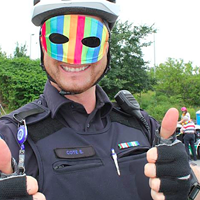 An HRP officer marching in Halifax's Pride parade two years ago.