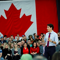 Prime minister Justin Trudeau addresses the crowd gathered at Sackville High School during his last visit to Halifax.