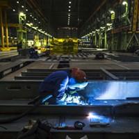 At work inside the Halifax Shipyard.