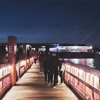 Stroll across the sea bridge.