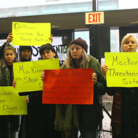 "Students use free expression to protest Dal hiring ""free speech"" advocate Peter MacKinnon."