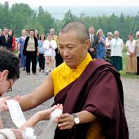 Osel Mukpo greeting Patricia Ullman at Dorje Denma Ling in Tatamagouche, circa 2007