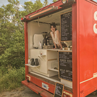 Jill Mulveney and the fire truck she (and Adam Otmar) converted into their big-little coffee shop