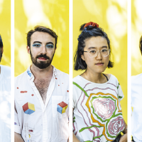 On a blistering day in July, artists Arjun Lal, Séamus Gallagher, Jenny Yujia Shi and Carrie Allison posed for The Coast in a heatwave-resistant backyard-turned-photo studio.