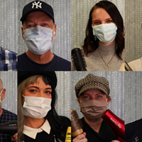 Thumpers stylists masked up for re-opening of salons.