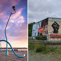 Explore the city and take in the waterfront's Drunken Lampposts and King's Wharf's latest mural.
