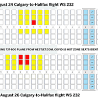 "There's been COVID-19 ""close contact"" to WS232 passengers in the yellow seats, likely from people in the red seats."