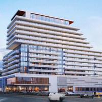 The proposed Cunard building would live in what's now a parking lot on the waterfront between Bishop's Landing and the Discovery Centre.