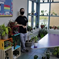 Sarah Patry stands among the plants she's collected at École du Carrefour in Dartmouth.