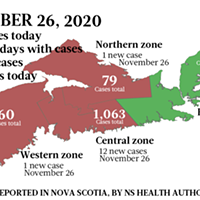 Map of COVID-19 cases reported in Nova Scotia as of November 26, 2020. Legend here.