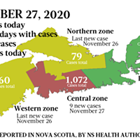 Map of COVID-19 cases reported in Nova Scotia as of November 27, 2020. Legend here.