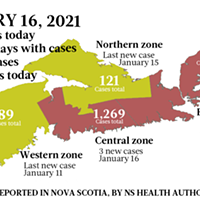 Map of COVID-19 cases reported in Nova Scotia as of January 16, 2021. Legend here.