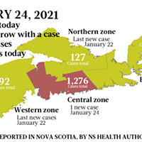 Map of COVID-19 cases reported in Nova Scotia as of January 24, 2021. Legend here.